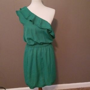 Max Studio one shoulder green dress size L